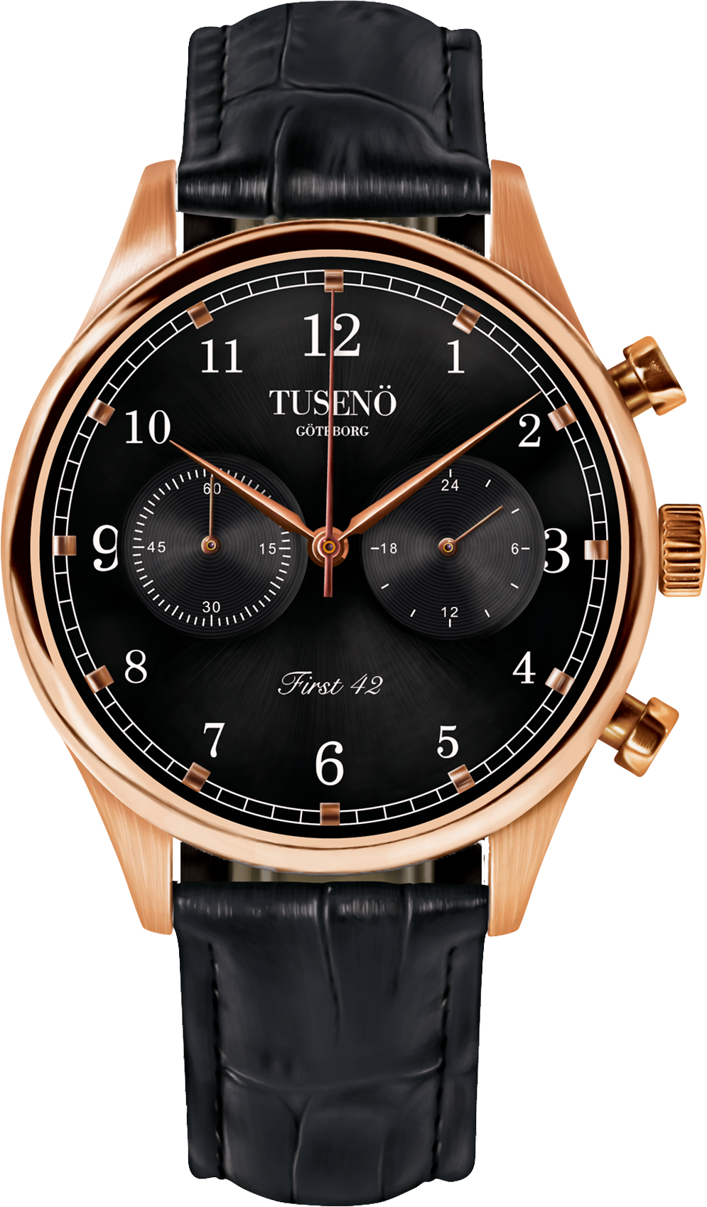 Tusenö Rose Gold/Black Black Alligator strap-38