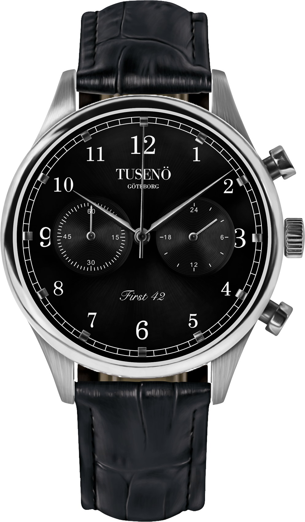 Tusenö First 42 Silver/Black Black Alligator Strap-314