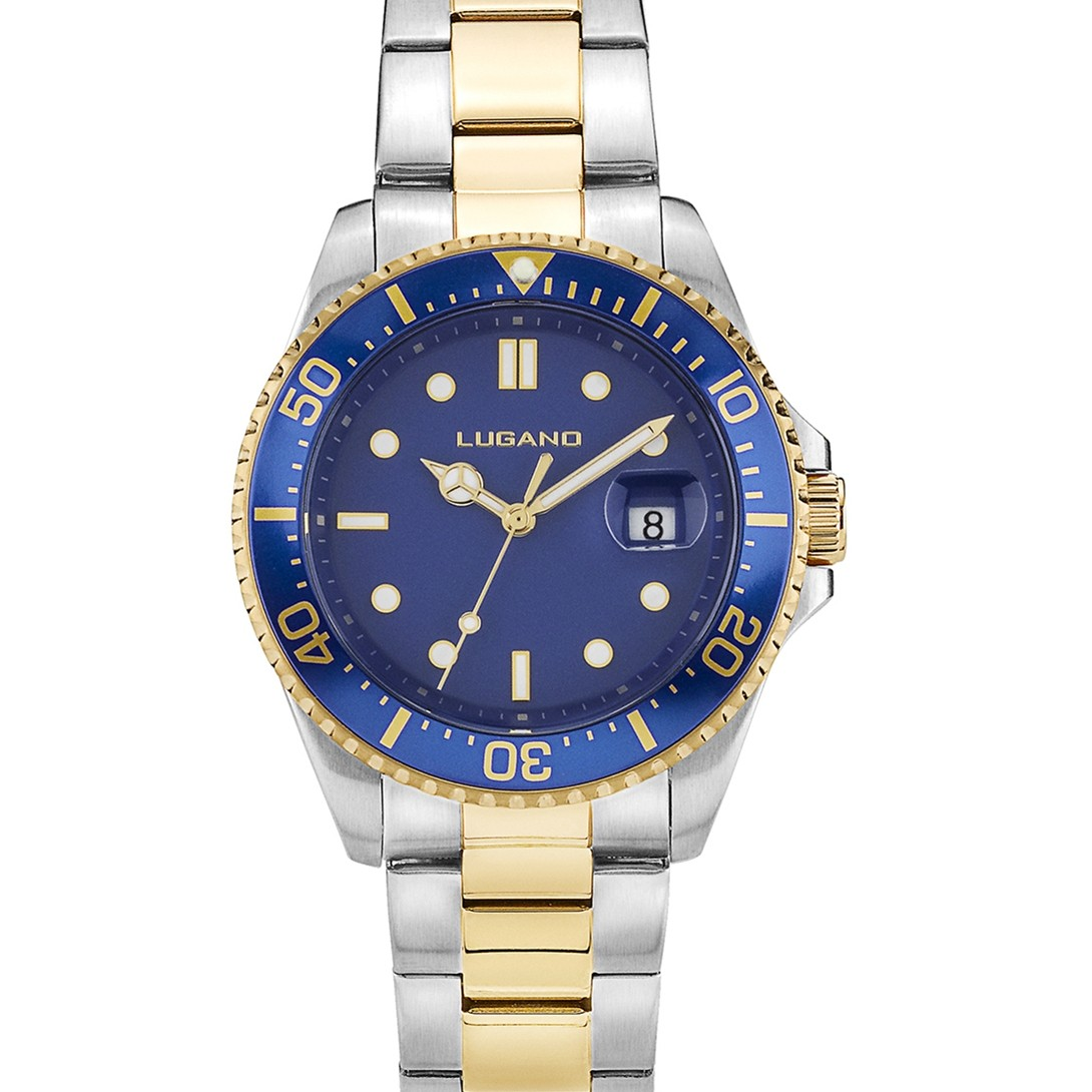 Lugano Diver Steel/Gold/Blue-329