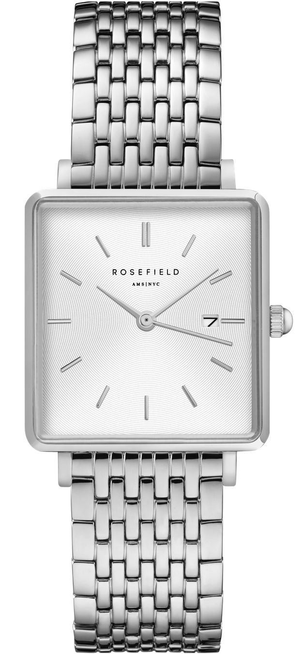 Rosefield The Boxy White Sunray Steel Silver-316