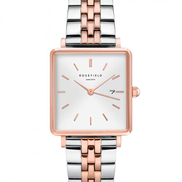 Rosefield The Boxy White Sunray Silver Rose Gold Duo QVSRD-Q014-30