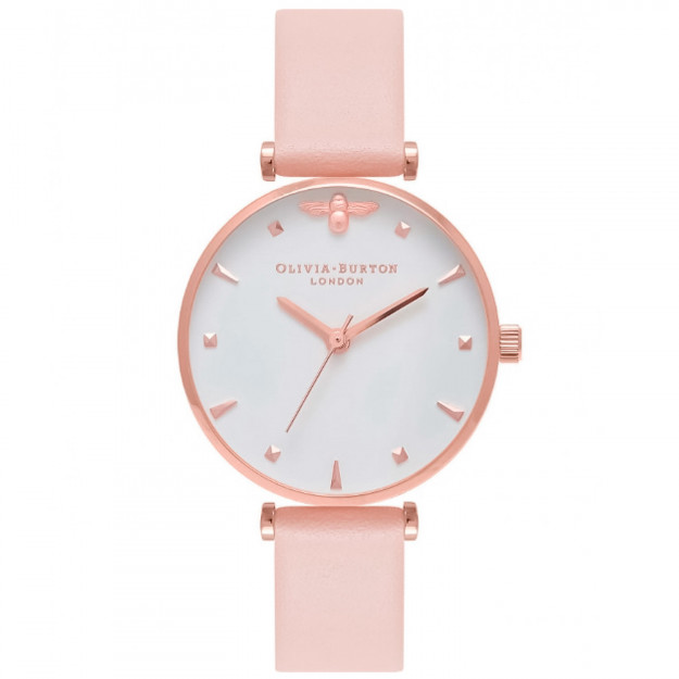 Olivia Burton Queen Bee T-Bar Nude Peach and Rose Gold-319