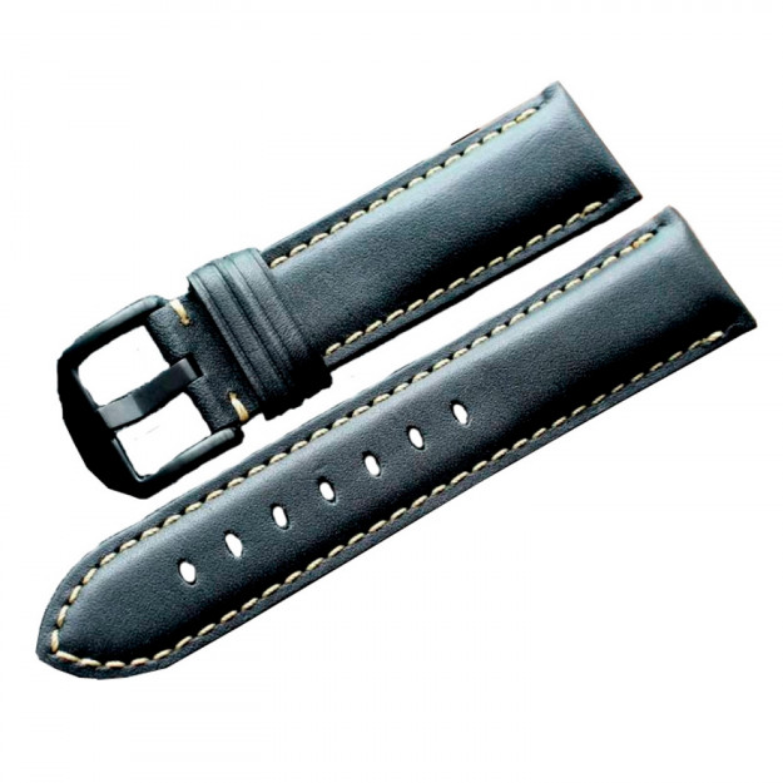 Sort læderrem med hvid syning 22 mm.-31