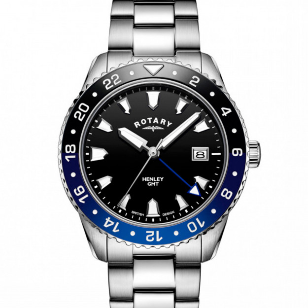 Rotary Henley Stainless Steel Black Dial GB05108/63-30