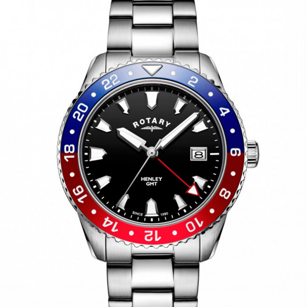 Rotary Gents Stainless Steel Red / Blue GMT Henley GB05108/30-30