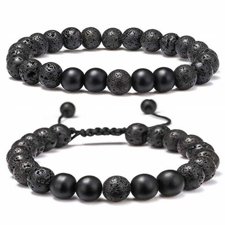 Justerbart armbåndssæt med sorte sten-31