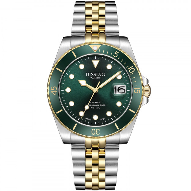 Dissing Diver Automatic Silver/Gold/Green-31