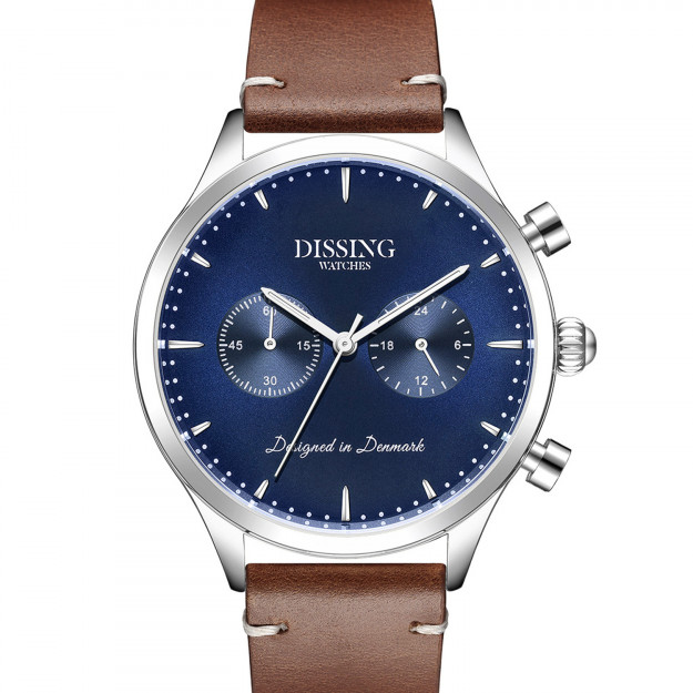 Dissing brown Italian Leather Silver/Blue-30
