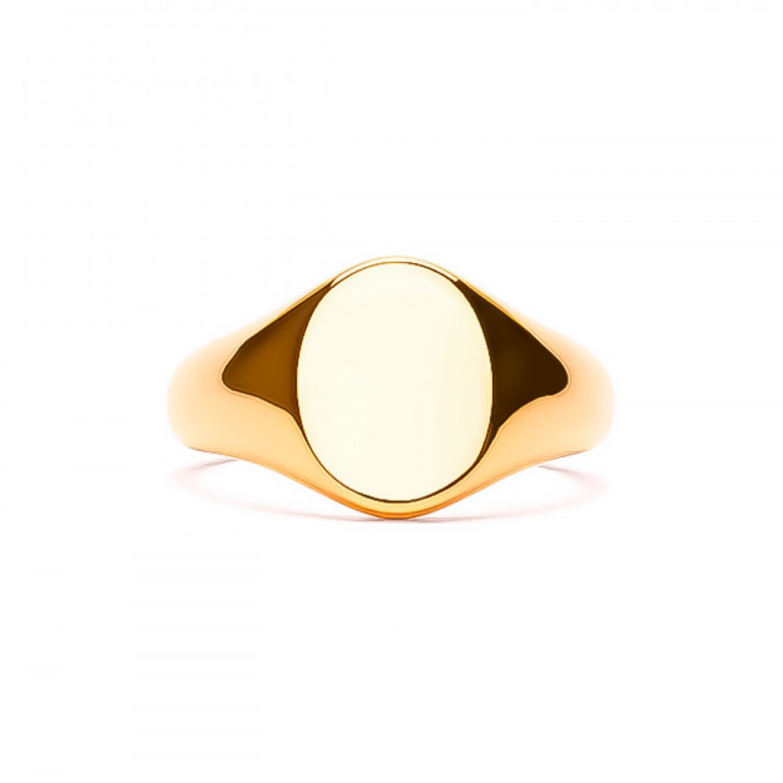 Frederik IX Studios Mini Oval Signet Ring forgyldt-315