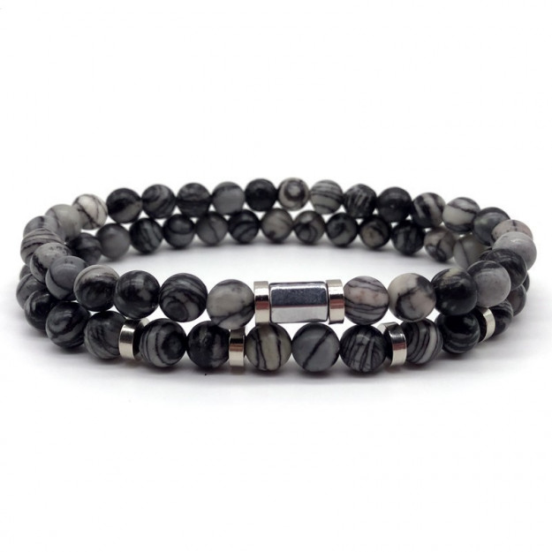 Double Grey Stone Handmade Bracelet-30