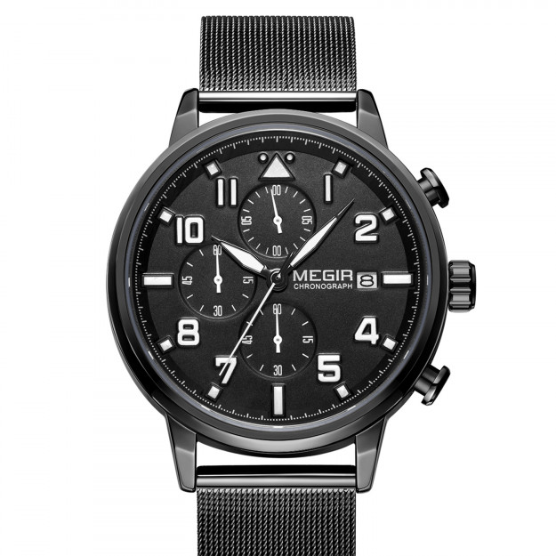 Megir Chronograph Luxury Mesh Black/Black-35