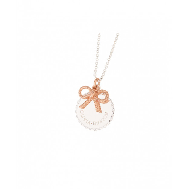Olivia Burton Bee Coin Necklace Silver and Rose Gold-35