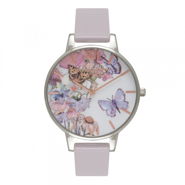Olivia Burton Painterly Prints Butterfly Grey Lilac, Silver and Rose Gold-35
