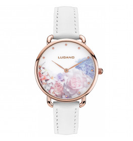 Lugano Rose Gold White leather Floral-035
