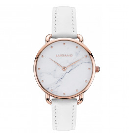 Lugano Rose Gold White leather Marble-033