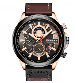 Curren Tachymeter Master Brown Leather Black-094