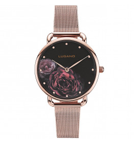 Lugano Rose Gold Mesh Black Floral-032