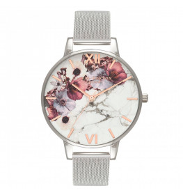 Olivia Burton Marble Floral Mesh Rose Gold and Silver-017