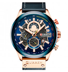 Curren Tachymeter Master Black/Blue/Rose Gold-086