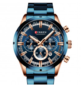 Curren Chrono Master Blue/Rose Gold Steel-081