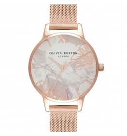 Olivia Burton Abstract Floral Rose Gold Mesh-06