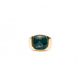 Frederik IX Studios Cushion Signet Ring Green Marble forgyldt-06