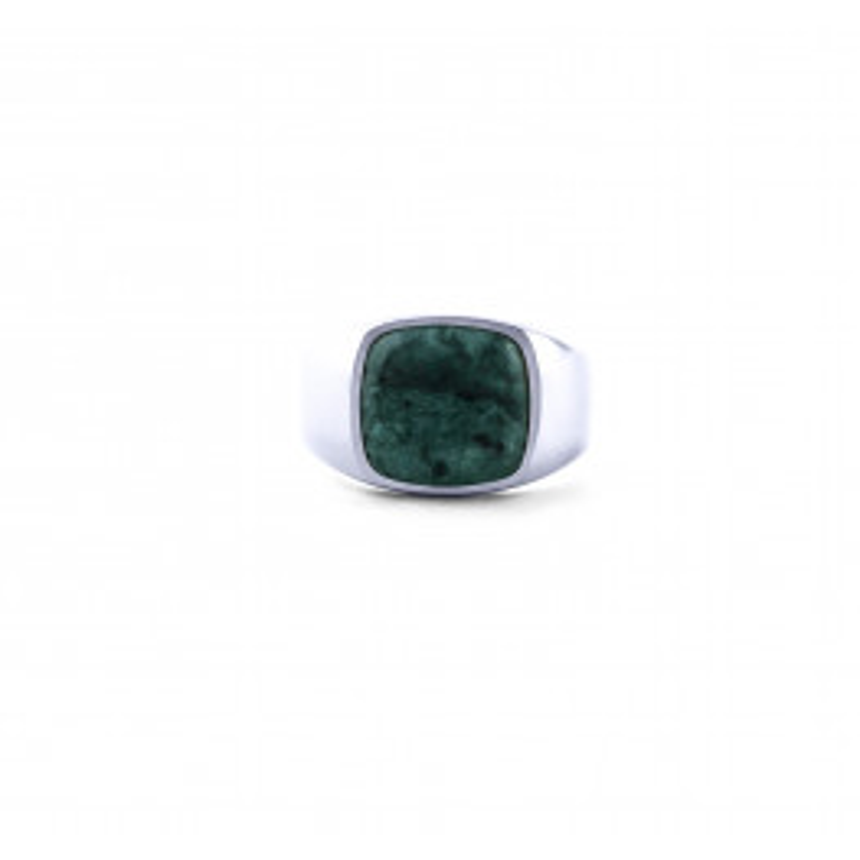 Frederik IX Studios Cushion Signet Ring Green Marble sølv-08