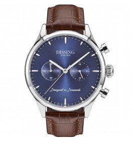 Dissing Brown Italian Leather Silver/Blue-014