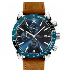 Dissing Chrono Brown Leather Silver/Blue-011