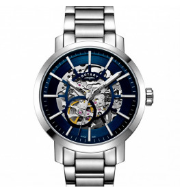 Rotary Gents Stainless Steel Greenwich Skeleton GB05350/05-016