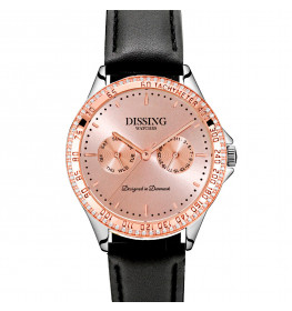 Dissing Ladies Rose Gold/Silver Leather Black-045
