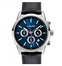 Lugano Master Black Leather Blue-038
