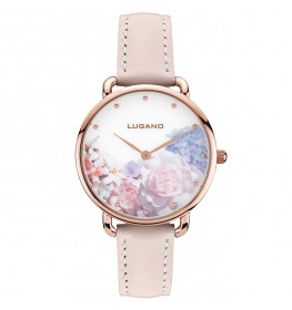 Lugano Rose Gold Pink leather Floral-036