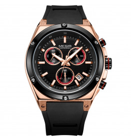 Megir Chronograph Black/Rosegold/Red-02