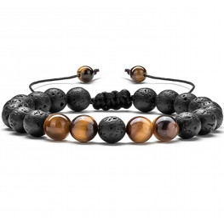 Tiger Eye Stone Bracelet Black Lava Stone/Brown-010