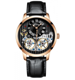 Ailang Automatic Black Leather Black/Rose Gold-012