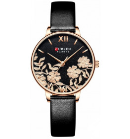 Curren Ladies Leather Black/Flower-089