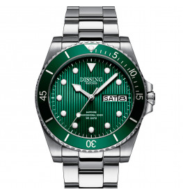 Dissing Diver Day Date Silver/Green-07