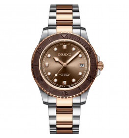 Dissing Lady Diver Two Tone Rose Gold/Silver/Brown-06
