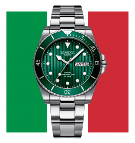 Dissing Diver Day Date Silver/Green-013