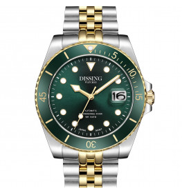 Dissing Diver Automatic Silver/Gold/Green-05