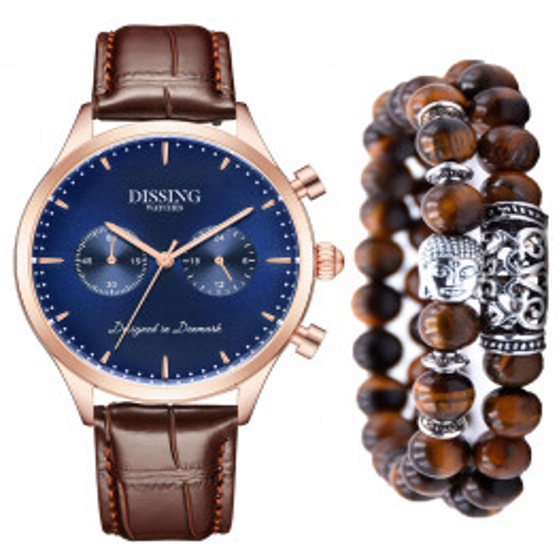 Dissing Brown Leather Gold/Blue gavesæt mænd-00