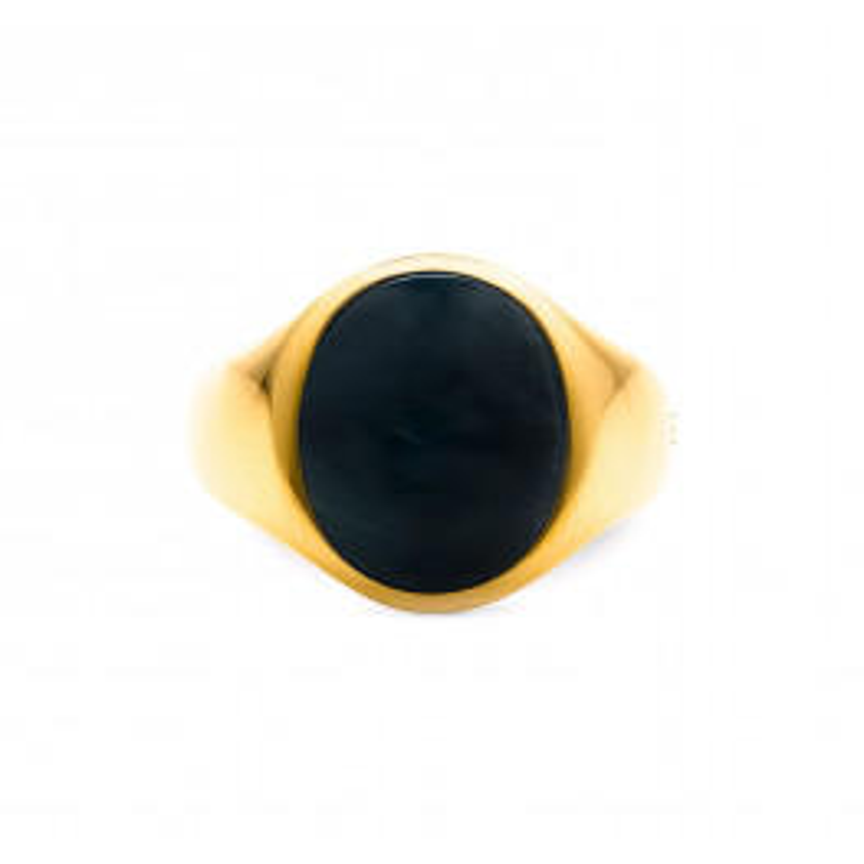 Frederik IX Studios Oval Signet Ring Hawks Eye forgyldt-016