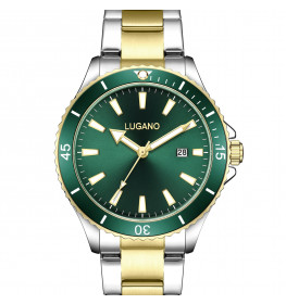 Lugano Diver Two Tone Green Dial-04