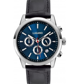Lugano Master Black Leather Blue-036