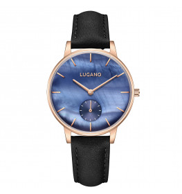 Lugano Classic Leather Black/Blue/Rosegold-049