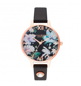 Olivia Burton Bejewelled Florals Demi Embellished Black and Rose Gold-031