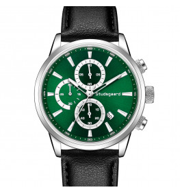 Studsgaard Black Leather Silver/Green-07