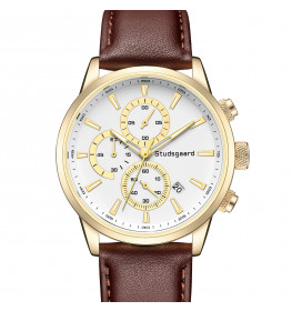 Studsgaard Brown Leather Gold/White-07