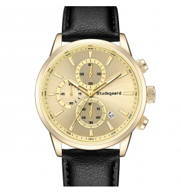 Studsgaard Black Leather Gold/Gold-06